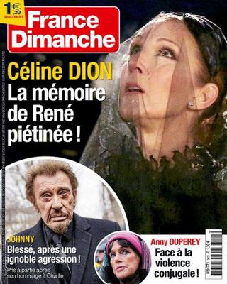 Céline Dion - Couverture France-Dimanche Magazine  [France] (29 Janvier 2016)
