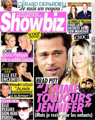 Brad Pitt, LOrie, Céline Dion - Couverture Showbiz Magazine [France] (Mars 2011)