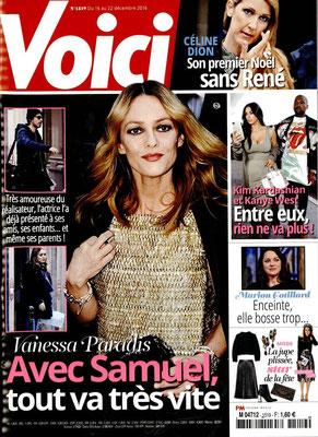 Vanessa Paradis , Céline Dion ... - Couverture Voici Magazine [France] (16 Décembre 2016)
