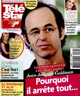JJ Goldman , Céline Dion - Couverture Télé Star Magazine [France] (28 Mai 2016)
