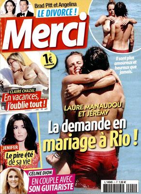 Laure Manaudou, Claire Chazal, Jenifer, Celine Dion - Couverture Merci Magazine [France] (12 Aout 2016)