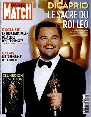 Léonardo Dicaprio, Céline Dion - Couverture Paris Match Magazine [France] (3 Mars 2016)