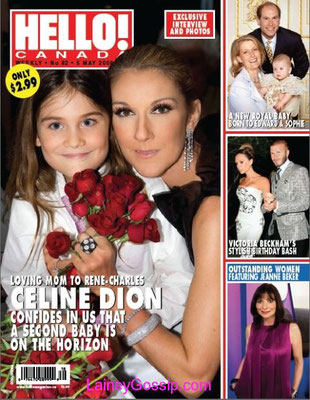 Celine Dion, René Charles- Couverture Hello Magazine [Canada] (5mai 2008)