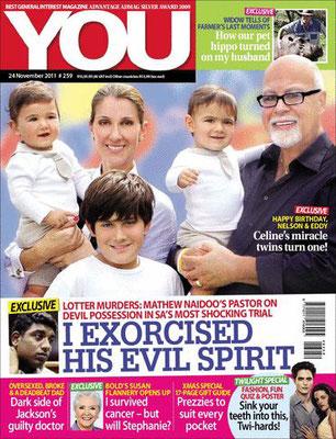 Celine Dion, René et leurs enfants - Couverture You Magazine  [Afrique du sud] (24 Novembre 2011)