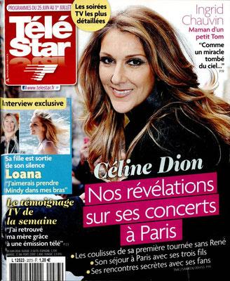 Céline Dion - Couverture Télé Star Magazine [France] (25 Juin 2016)