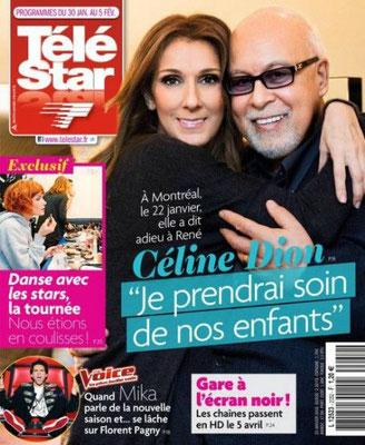 Céline Dion, René Angelil - Couverture Télé Star Magazine  [France] (30 Janvier 2016)