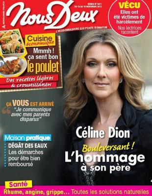 Céline Dion - Couverture Nous Deux Magazine  [France] (13 Novembre 2012)