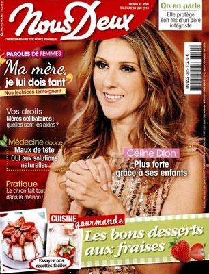 Céline Dion - Couverture Nous Deux Magazine [France] (24 Mai 2016)