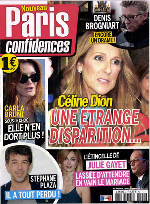 Céline Dion - Couverture Paris Confidences Magazine [France] (Octobre - Novembre 2016)