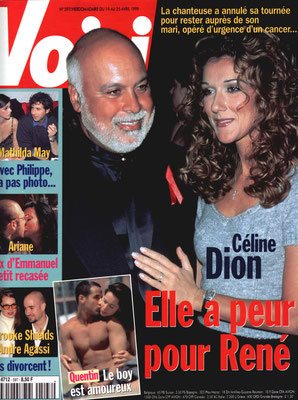 René, Céline Dion... - Couverture Voici Magazine [France] (19 Avril 1999)