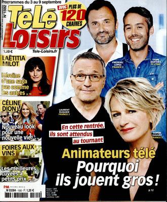 Les Animateurs, Laetitia Milot, Céline Dion - Couverture Télé Loisirs Magazine [France] (3 Septembre 2016)