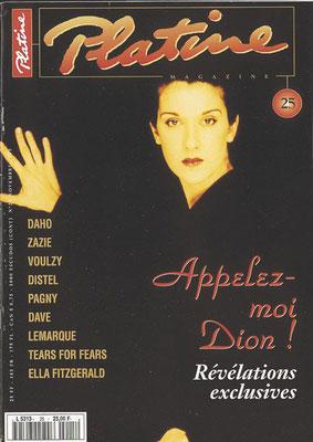 CelineDion - Couverture Platine Magazine [France] (Novembre 1995)