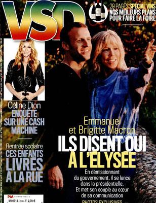 Famille Macron , Céline Dion - Couverture VSD Magazine [France] (1 Septembre 2016)