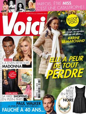 Karine Le Marchand, Madonna , Céline Dion - Couverture Voici Magazine [France] (6 Décembre 2013)