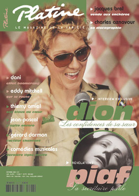 CelineDion - Couverture Platine Magazine [France] (Octobre 2003)