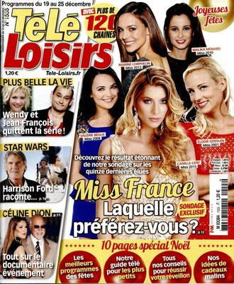 Les Miss France, Star Wars, Céline Dion - Couverture Télé Loisirs Magazine [France] (19 Décembre 2015)