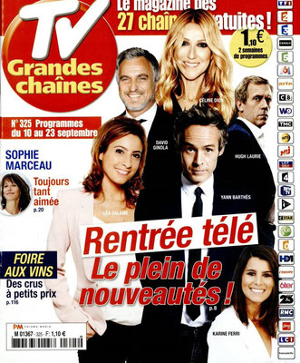 Céline Dion , David Ginola... - Couverture Tv Grandes Chaines Magazine [France] (10 Septembre 2016)