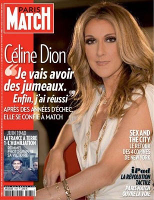 Celine Dion - Couverture Paris Match Magazine [France] (3 Juin 2010)