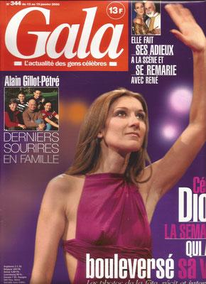 Celine Dion - Couverture Gala Magazine [France] (13 Janvier 2000)