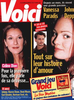 Vanessa Paradis, Céline Dion... - Couverture Voici Magazine [France] (13 Juillet 1998)