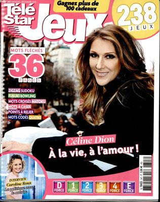 Céline Dion - Couverture Télé Star Jeux [France] (Décembre 2016)