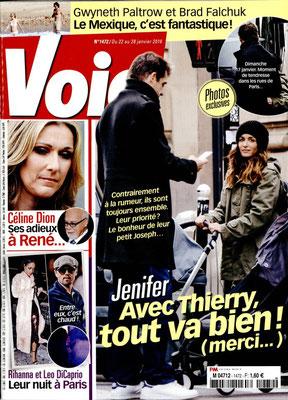 Jenifer , Céline Dion... - Couverture Voici Magazine [France] (22 Janvier 2016)