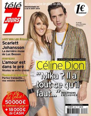 Celine Dion et Mika - Couverture Télé 7 Jours Magazine [France] (2 Aout 2014)