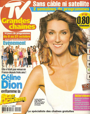 Céline Dion - Couverture Tv Grandes Chaines Magazine [France] (8 Octobre)