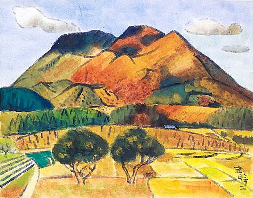 笠置山 水彩 笠置山は地元の山でしたので良く描いています。