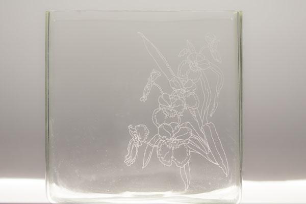 Glasvase quadratisch