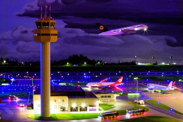Terminal des Flughafens bei Nacht - Quelle: Miniatur Wunderland