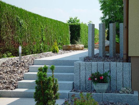 Aménagements extérieurs - granit - palissade - escalier