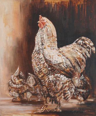 Met de kippen op stok   oilpainting   100x120cm