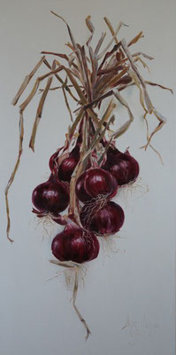 Bosje uien!/Bunch of oniuns! | oil on linen | 50x100cm