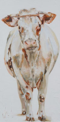 De bonte van Arie/ The cow of Arie   oil on linen   50x100cm