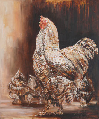 Met de kippen op stok | oilpainting | 100x120cm