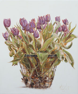 Mandje tulpen | olie op linnen | 100x120cm |