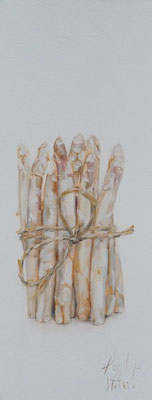 Bosje asperges/Bunch of asparagus | oil on linen || 20x50cm