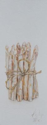 Bosje asperges/Bunch of asparagus | oil on linen || 20x50cm