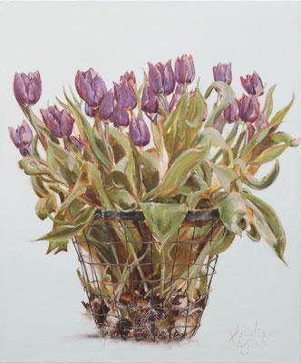 Mandje tulpen | oil on linen | 100x120cm