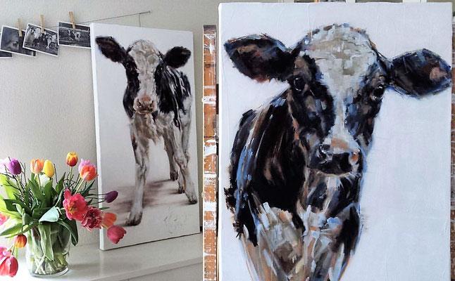 Schilderijen Allermooiste en Allerliefste 50x100cm olie op linnen