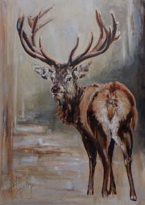 Edelhert/Red deer | oil on linen | 100x140cm