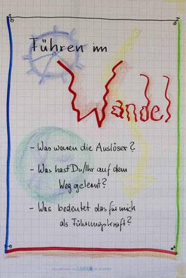 """Ein Plakat aus einem TZI-Kurs mit dem Titel """"Führen im Wandel"""""""