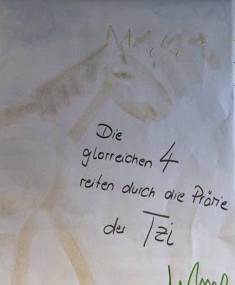 """Ein Plakat aus einem TZI-Kurs mit dem Titel """"Die glorreichen 4 reiten durch die Prärie der TZI"""""""