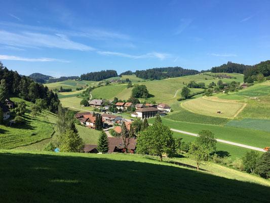 Von hoch oben schauen wir hinab ins Tal; dort unten sind die Behausungen der Menschen, die hier wohnen. Sie sind es, die unser Revier hegen und pflegen.
