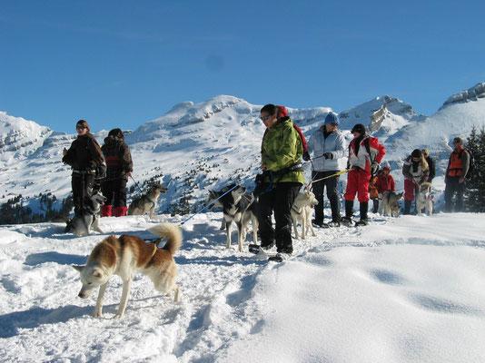 Führer sein auf Schneeschuhtour