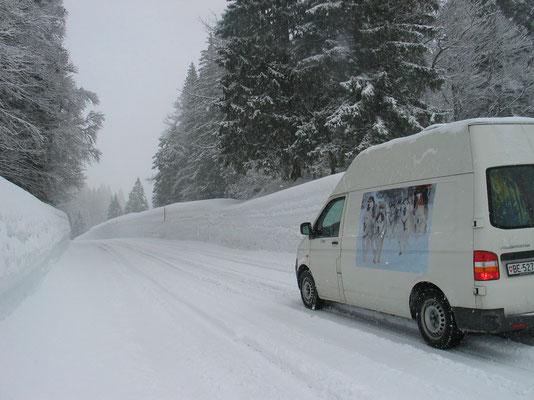 Zwei Meter hohe Schneewächten begleiten uns auf der Passtrasse ins Tal hinunter