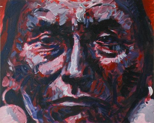 "CHIEF JOSEPH ""HINMATOO-YALATKEKT"" 1903 / 1991, Acrylic on paper on Aluminum, Size: 59,5 x 48 cm, framed"