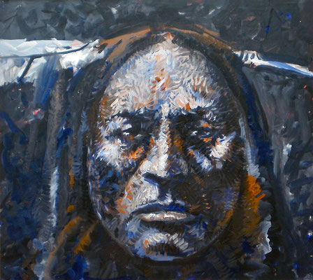 COMANCHE 1845 / 1990, Acrylic on paper on Aluminum, Size: 112 x 100 cm, framed