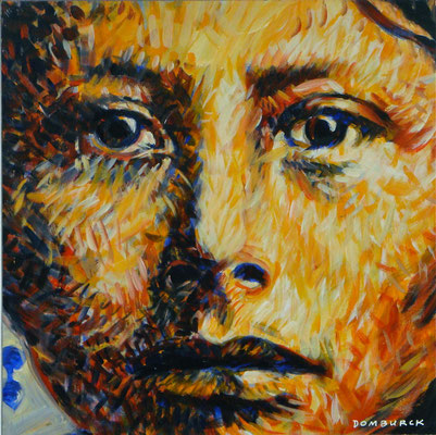 GIRL AFRAID, Acrylic on wood board, Size: 48 x 48 cm, framed